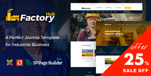 Factory HUB - Industrial Business Joomla Template