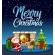 Merry Christmas Santa and Reindeer Card - GraphicRiver Item for Sale