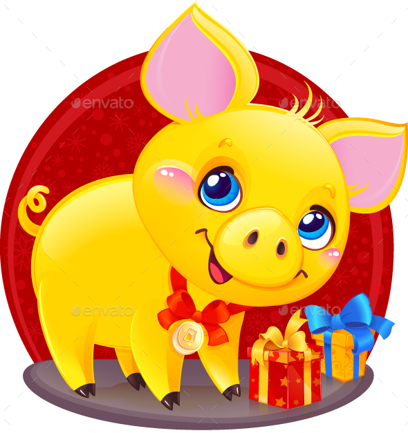 Yellow Earthy Pig with Gift Box for the New Year 2019