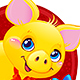 Yellow Earthy Pig with Gift Box for the New Year 2019 - GraphicRiver Item for Sale