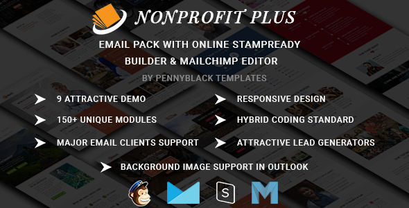 Nonprofit Plus - Email Pack With Online StampReady & Mailchimp Editors