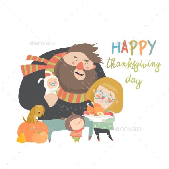 Vector Illustration of a Cartoon Happy Family