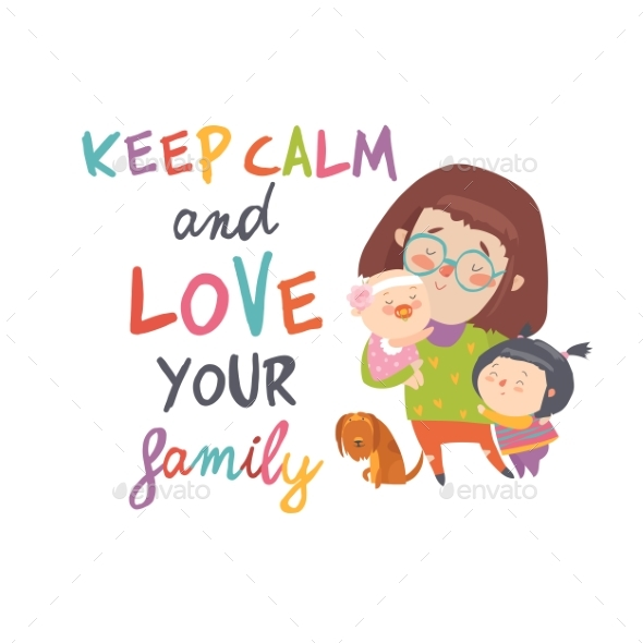 Cartoon Young Mother with Her Children