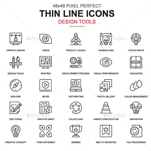 Line Design Tools Icons