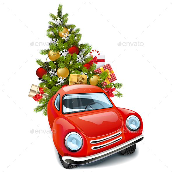 Vector Red Car with Christmas Tree
