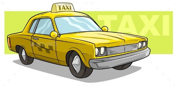 Cartoon Yellow Cool Taxi Car Vector Icon