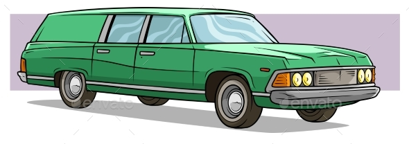 Cartoon Green Long Retro Car Vector Icon