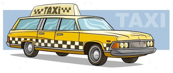 Cartoon Yellow Retro Taxi Car Vector Icon