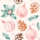Seamless Pattern with Pine Cones and Xmas Toys - GraphicRiver Item for Sale