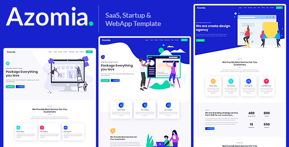 Azomia – Responsive Bootstrap 4 SaaS, Startup & WebApp Multi-purpose Template
