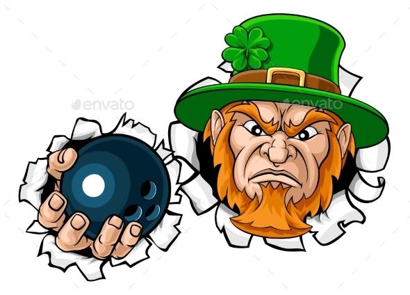 Leprechaun Bowling Mascot Ripping Background