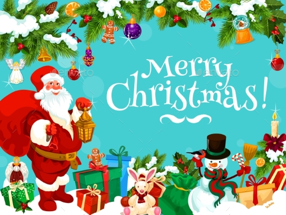 Santa with Christmas Gift Bag and Decorations