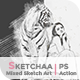 Sketchaa - Mixed Sketch Art   PS Action - GraphicRiver Item for Sale