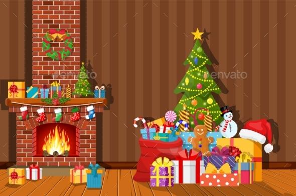 Christmas Interior of Room