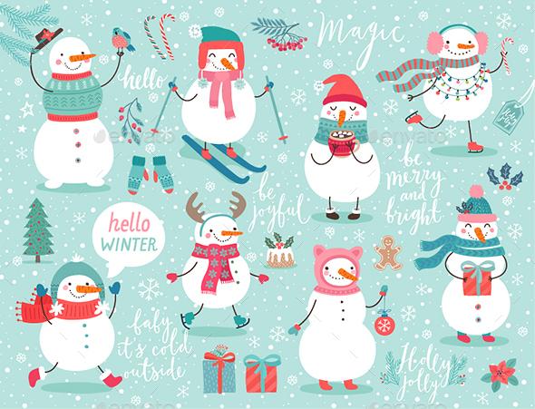 Christmas Set With Snowmen