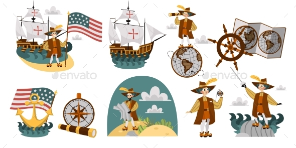 Columbus Day Set with Ship Map Helm Compass