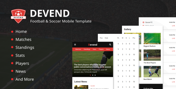 Devend - Football & Soccer Mobile Template