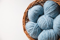 Closeup of basket with colorful yarn clews - PhotoDune Item for Sale