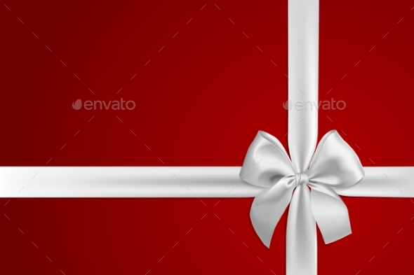Realistic White Bow and Ribbon Isolated on Red
