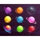 Cartoon Colorful Fantasy Planets Set on Space - GraphicRiver Item for Sale