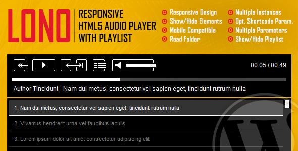 Lono - Responsive HTML5 Audio Player With Playlist WordPress Plugin