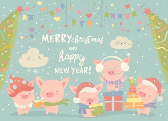 Cartoon Pigs with Christmas Gifts