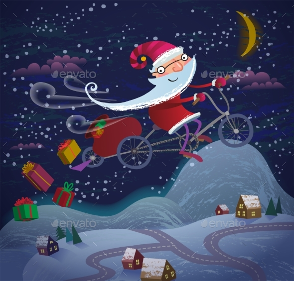 Santa Claus Flying By Magic Bicycle