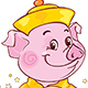 Yellow Earthy Pig with Fortune Cookie - GraphicRiver Item for Sale