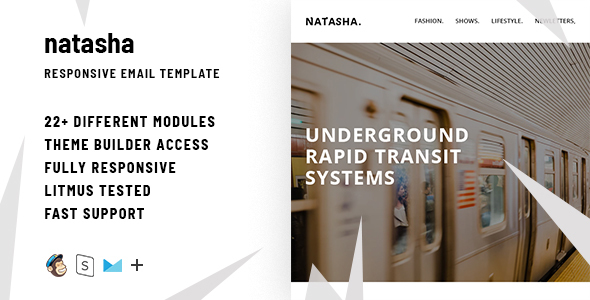 Natasha  – Responsive HTML Email + StampReady, MailChimp & CampaignMonitor compatible files