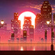 Retro City Skyline Sunset VJ Loop - VideoHive Item for Sale