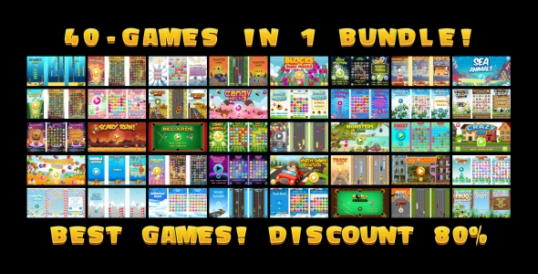 40 HTML5 GAMES IN 1 SUPER BUNDLE!!! (Construct 3 | Construct 2 | Capx)