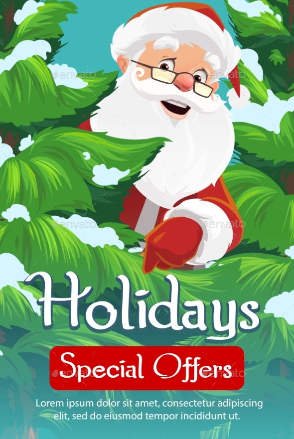 Santa, Christmas Tree and Snow. Xmas Sale
