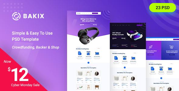 Bakix - Startup & Crowdfunding PSD Template