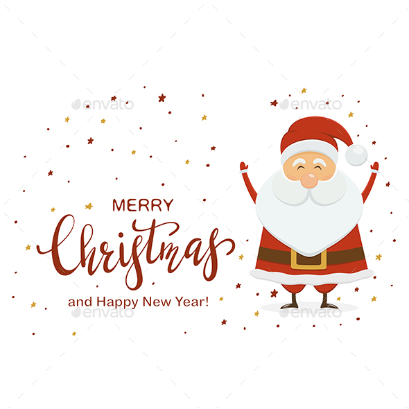 Santa Claus and Lettering Merry Christmas