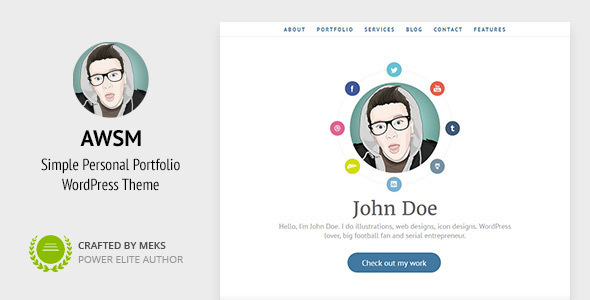AWSM - One Page CV / Resume & Personal Portfolio WordPress Theme