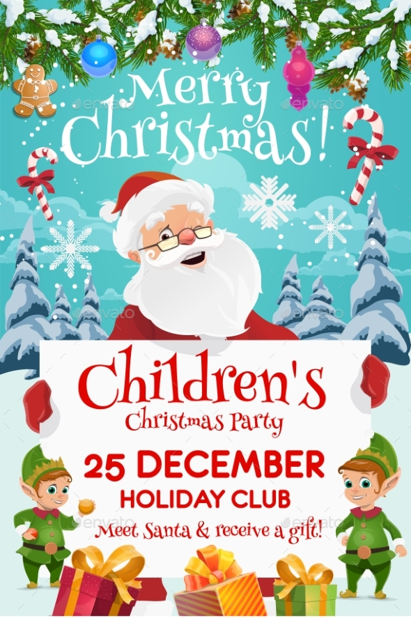 Santa with Elves and Gifts. Kids Christmas Party