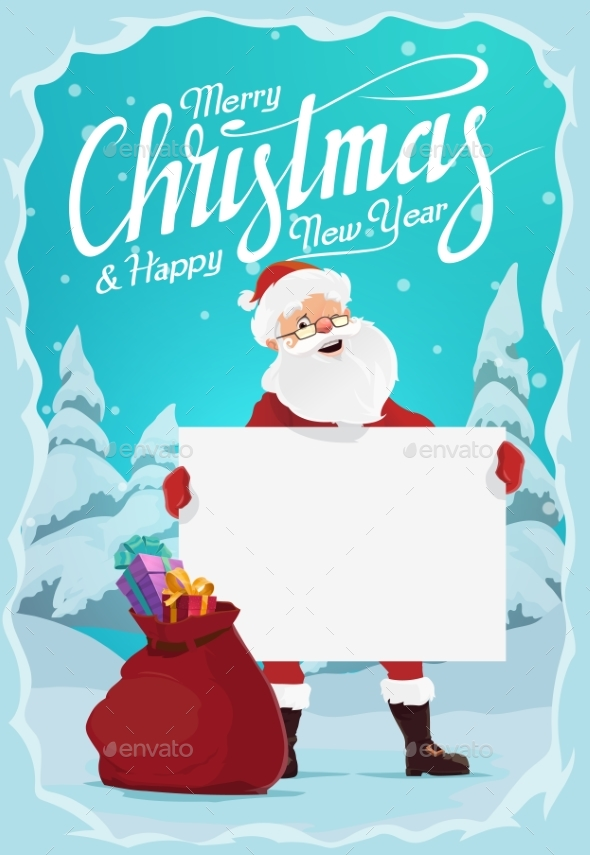 Santa Claus with Christmas Gifts and Blank Sign