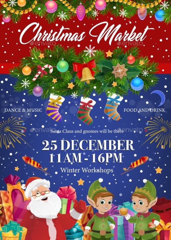 Santa Claus and Elves, Christmas Festive Market