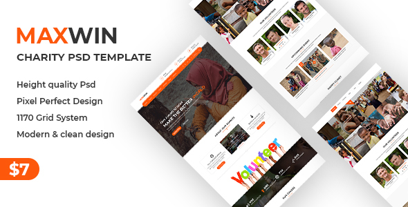 Maxwin - NonProfit Charity PSD Template