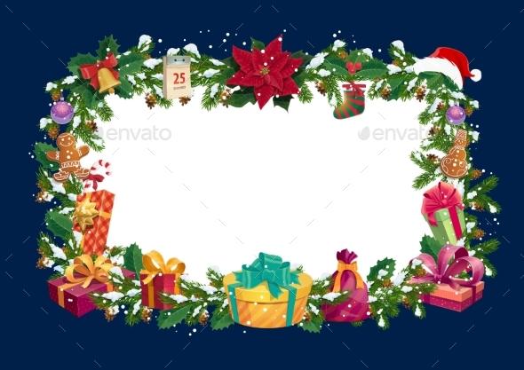 Christmas Winter Holiday Greetings Blank Frame