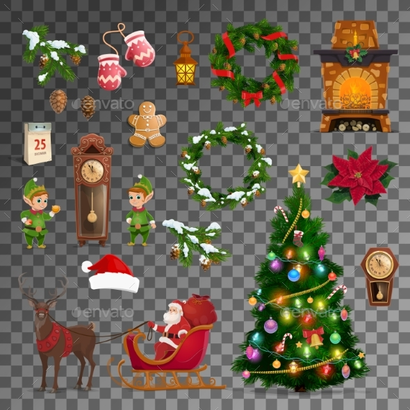 Christmas, New Year Holiday Vector Objects