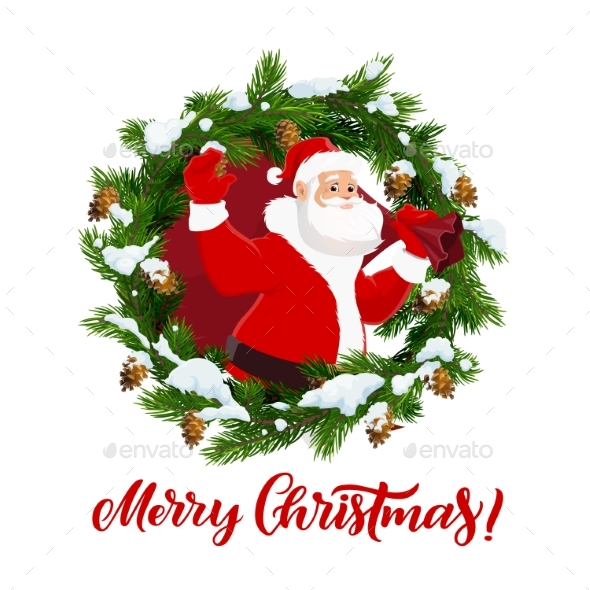 Santa Claus and Fir Branches, Christmas Vector
