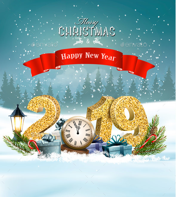 Holiday Christmas Background with Presents and Clock. Vector.