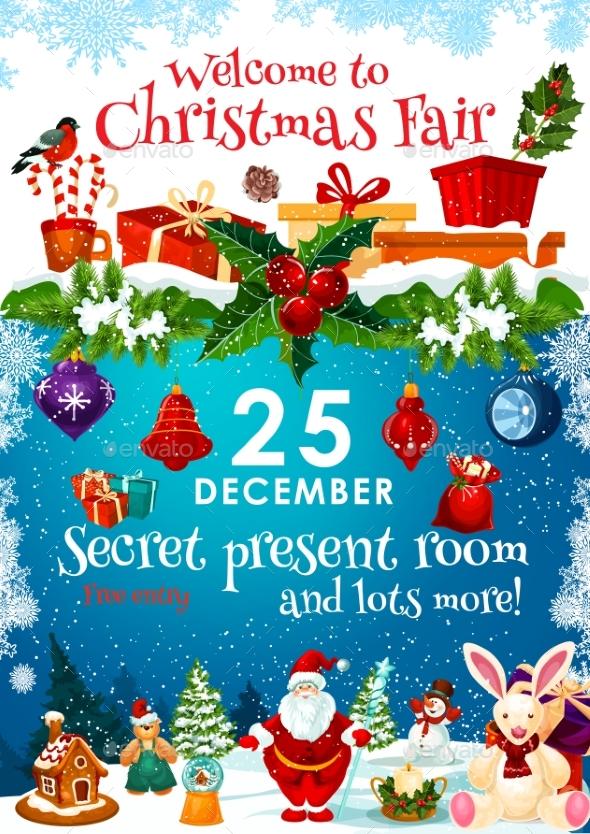 Christmas Fair Invitation with Presents on Snow