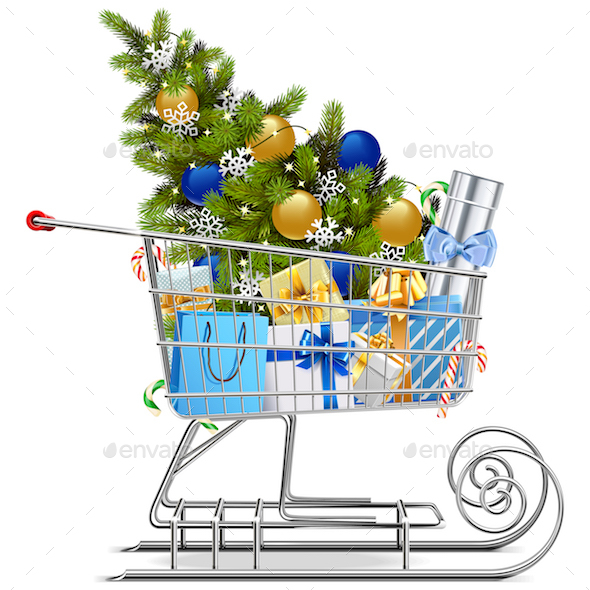 Vector Shopping Sled with Christmas Decorations
