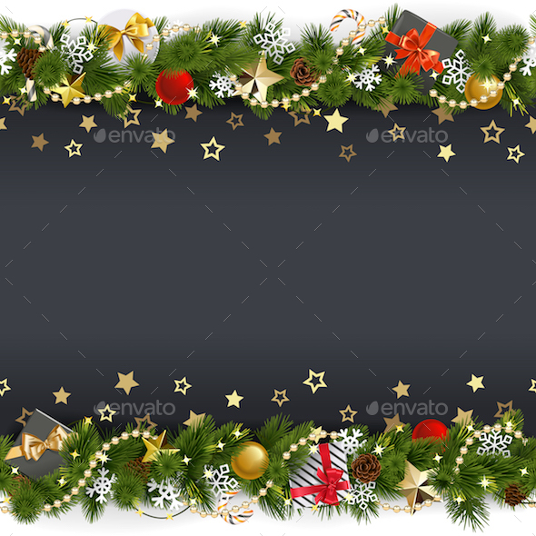 Vector Christmas Background with Stars and Gifts