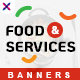 Food and Services Web Banner Set - GraphicRiver Item for Sale
