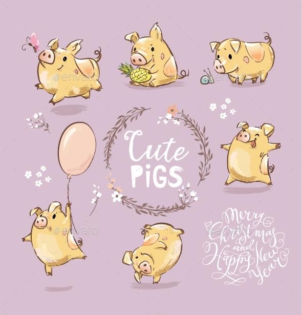 Set of Tiny Yellow Pigs