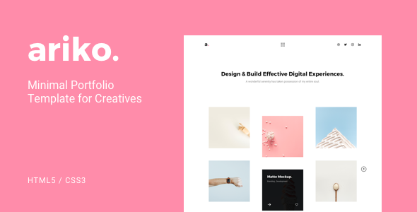 Ariko – Minimal Portfolio Template for Creatives