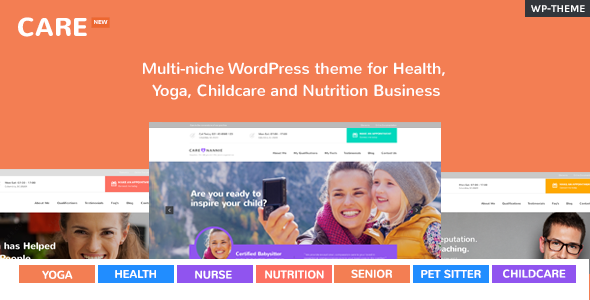 Care – Multi-niche WordPress theme for Health, Yoga, Childcare and Nutrition Business Free Download